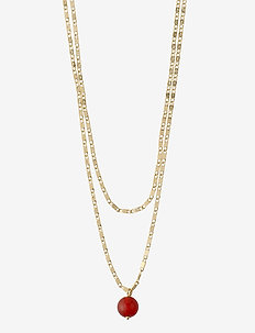 Necklace : Online Exclusive Haven : Gold Plated : Green - dainty necklaces - gold plated