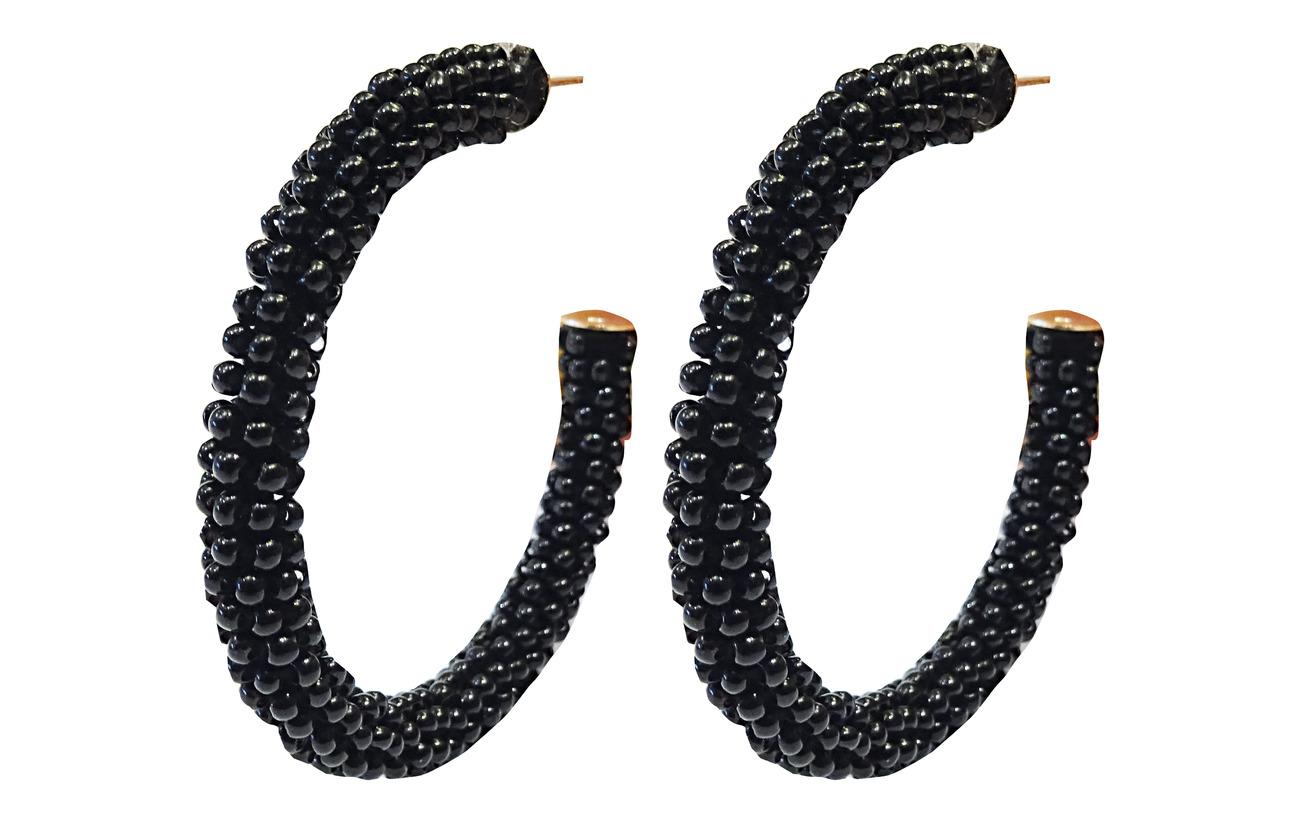 PIPOL'S BAZAAR Dany Beaded PIPOL Hoop Black - BLACK