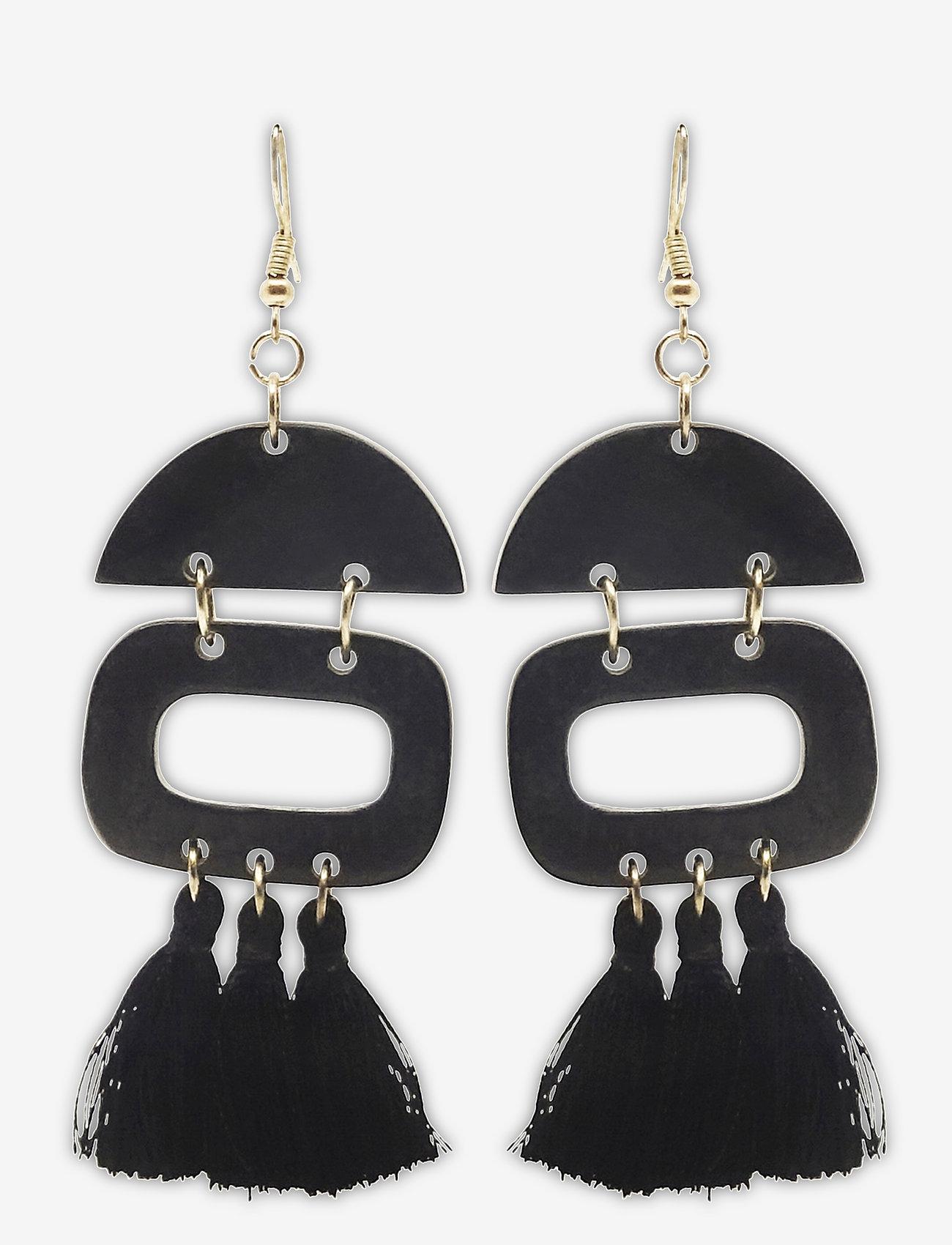 PIPOL'S BAZAAR - Duo Tassel Ear Black - statement oorbellen - black - 0