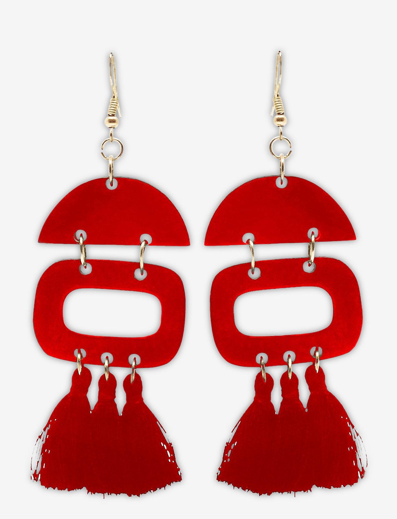 PIPOL'S BAZAAR - Duo Tassel Ear Red - statement earrings - red - 0