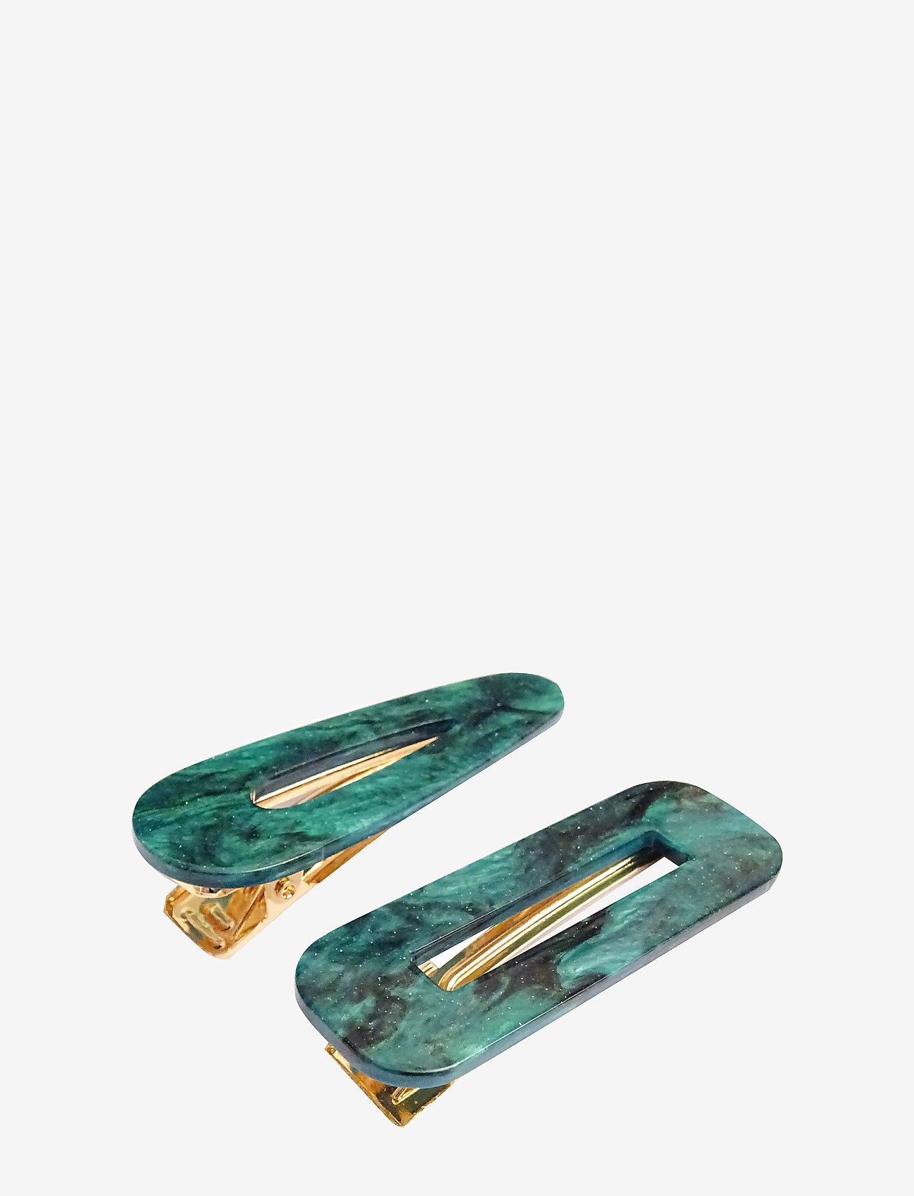 PIPOL'S BAZAAR - Marble Hair Clip PIPOL Set Green - hair accessories - green