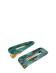 Marble Hair Clip PIPOL Set Green - GREEN