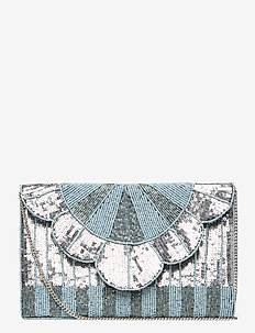Queenly Beaded PIPOL Clutch Ice - clutches - silver