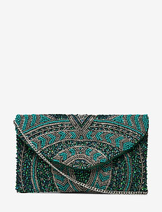 Sintra Beaded Pipol Clutch Emerald - clutches - green
