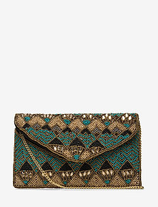 Gatsby Beaded Pipol Clutch Dark - clutches - multi