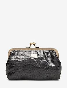 Metal Frame Clutch Black - clutches - black