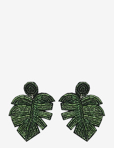 Leafer Earring Green - pendant - green