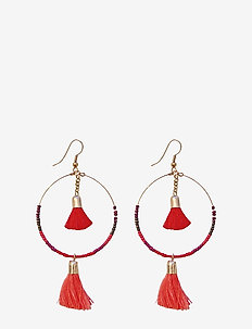 Maya Earring Medium Red - hoops - red