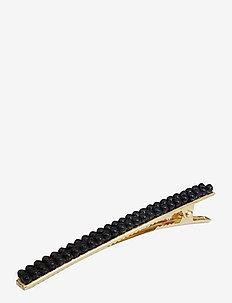 Flavia Long Clip Black - håraccessoarer - black