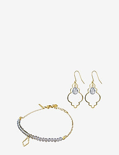 Palma Earring and Bracelet Set - jewelery sets - grey