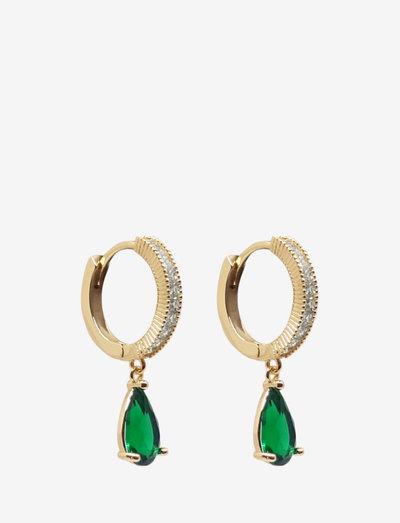Larma Med Ear Golden Green - roikkuvat korvakorut - gold