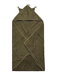 Organic hooded towel - DEEP LICHEN GREEN