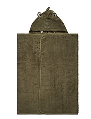 Organic hooded bath towel - DEEP LICHEN GREEN