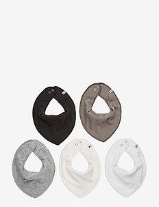 Bandana Bib - solid  (5-pack) - Śliniaczki - white