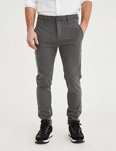 Grå  Josh 315 Grey Melange  Plain  Bukser - Herreklær er billig