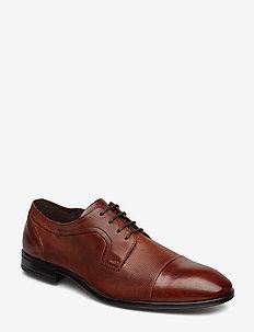 2514 - buty sznurowane - cognac