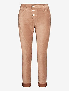C VEGAN LEATHER - straight jeans - camello