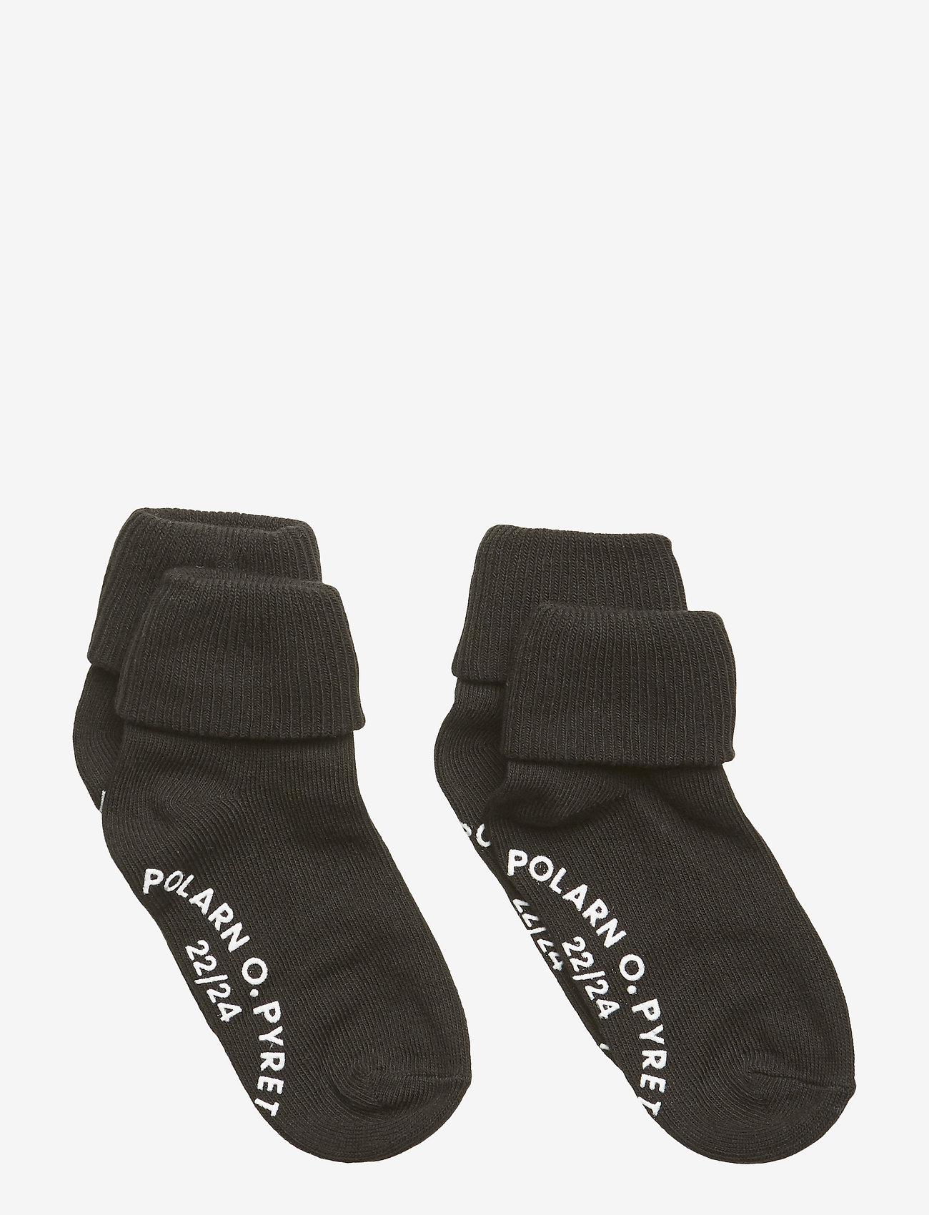 Polarn O. Pyret - Socks 2-P Turn-up Anti Slip Solid - meteorite - 0
