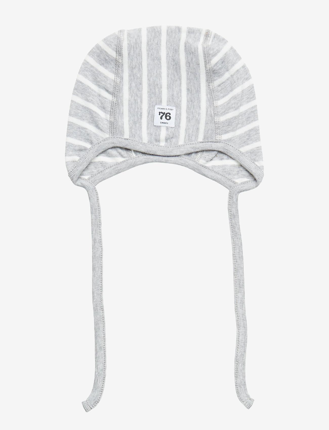 Polarn O. Pyret - Helmet PO.P Stripe Newborn - hatte og handsker - greymelange - 0