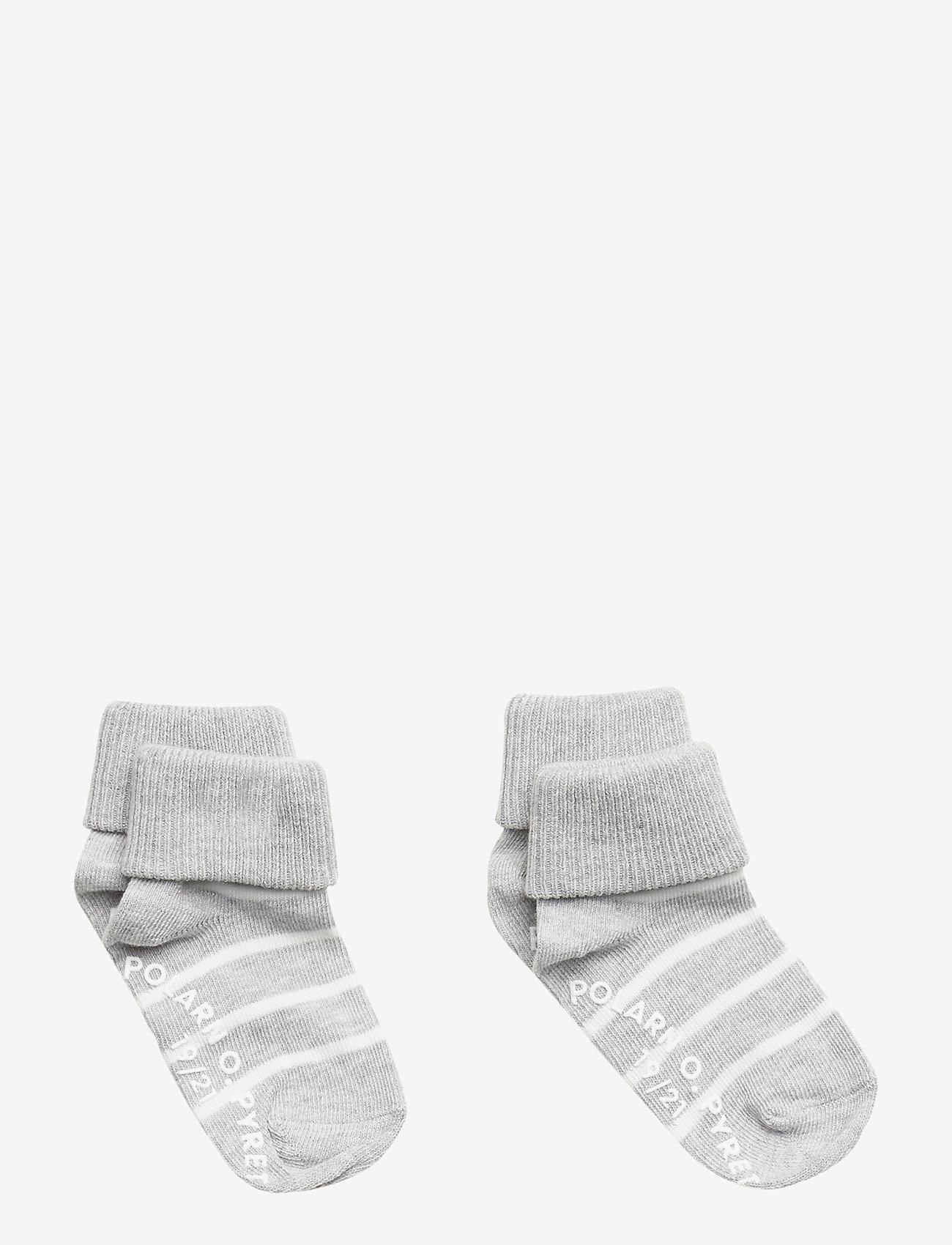 Polarn O. Pyret - Socks 2-P Turn-up Anti Slip PO.P Stripe - greymelange - 0