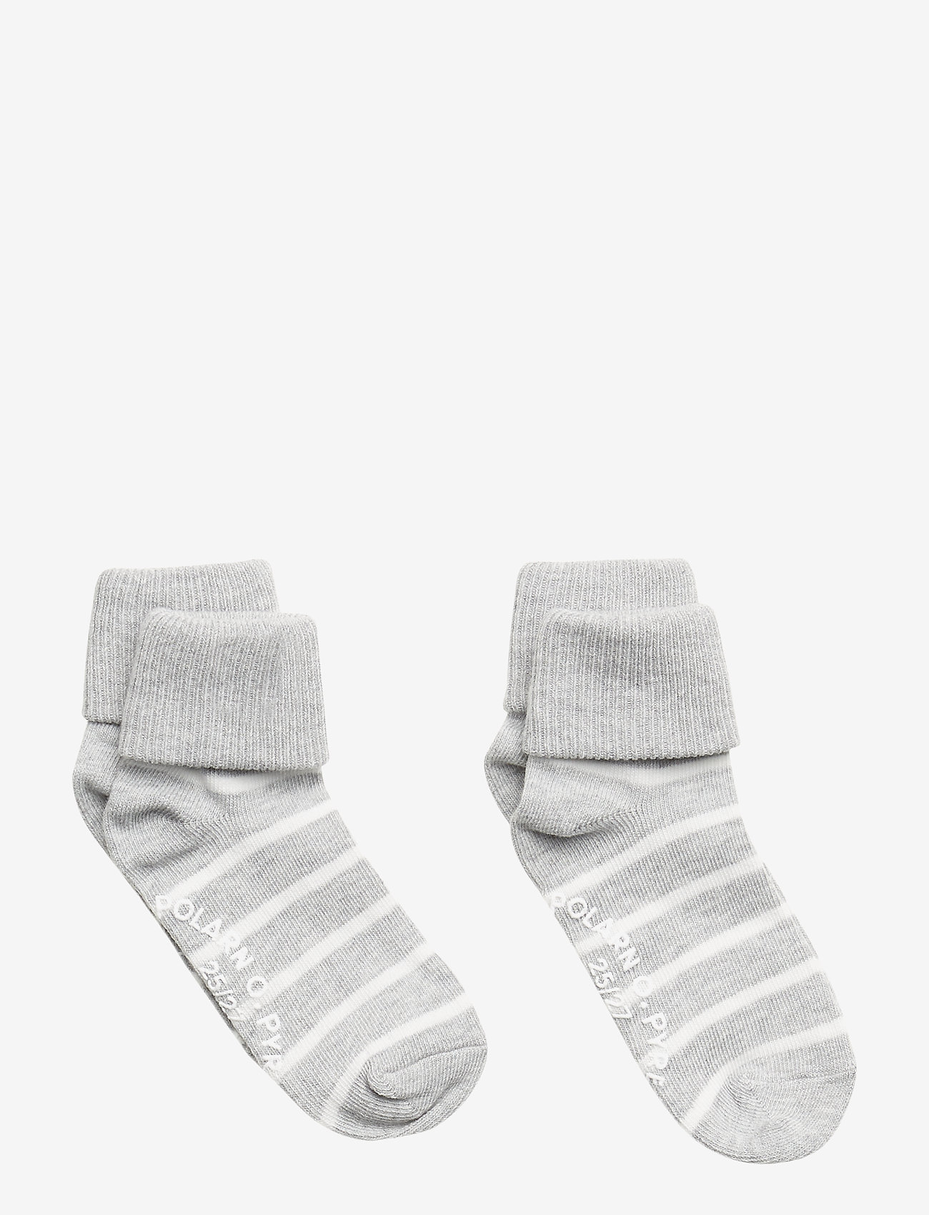 Polarn O. Pyret - Socks 2-P Turn-up Anti Slip PO.P Stripe - greymelange - 1