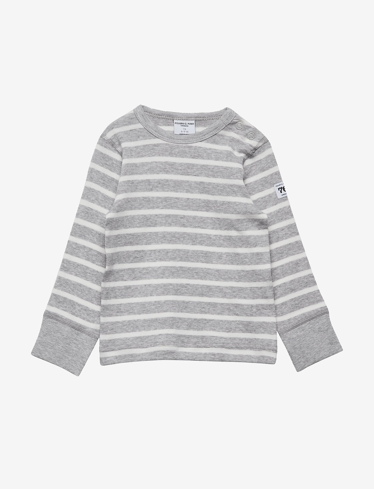 Polarn O. Pyret - T-shirt l/s PO.P Stripe Baby - lange mouwen - greymelange - 0