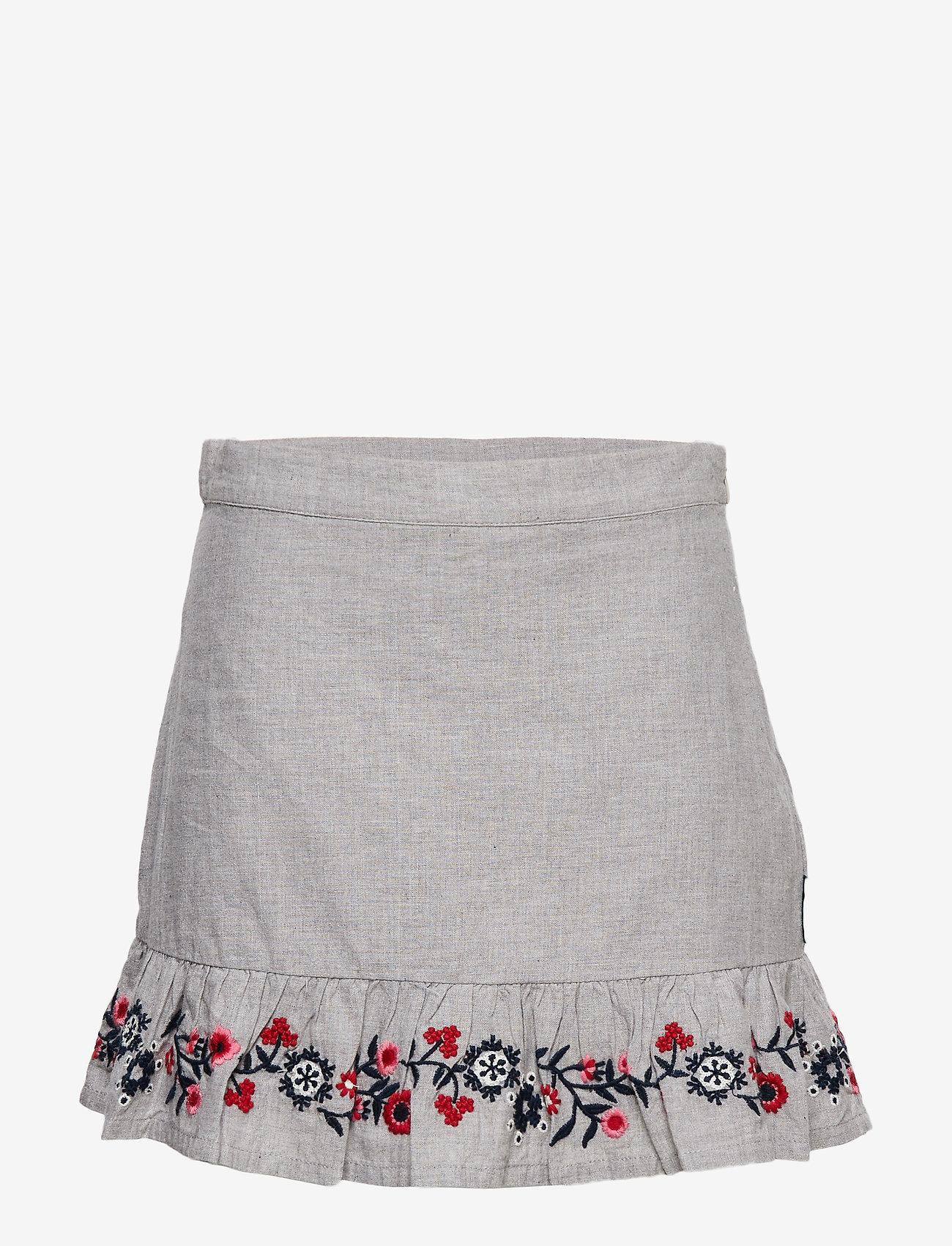 Polarn O. Pyret - Skirt w embroidery School - spódnice - greymelange - 0