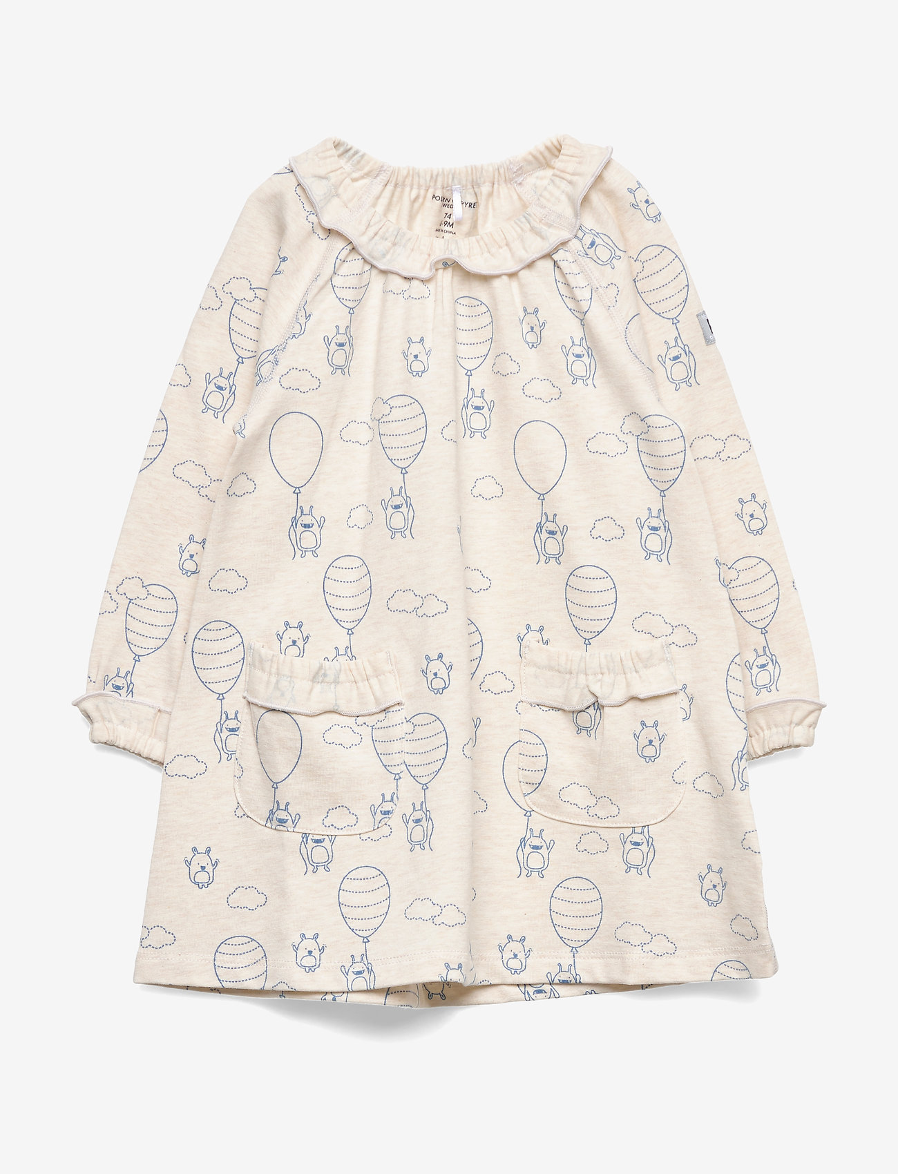 Polarn O. Pyret - Dress L/S AOP Baby - kleider - ecru melange - 0