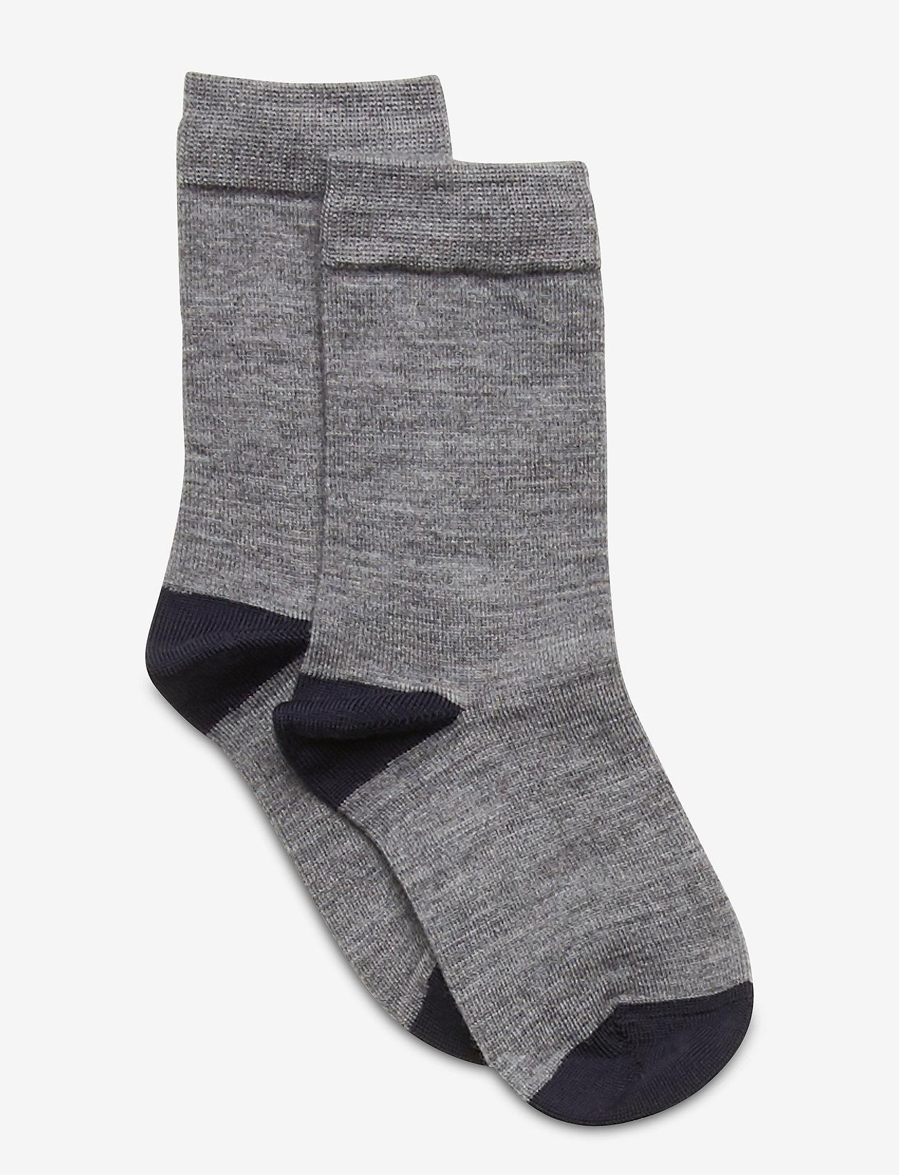 Polarn O. Pyret - Socks Wool Solid Preschool - sokken - greymelange - 0