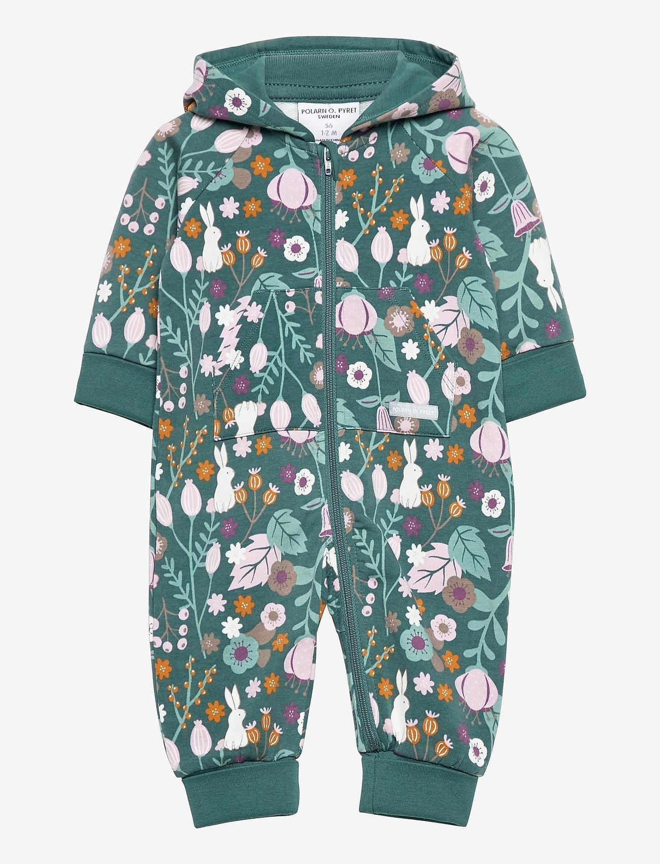 Polarn O. Pyret - Overall AOP Hood Baby - langärmelig - mallard green - 0