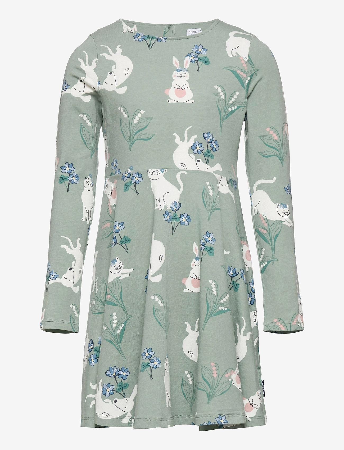 Polarn O. Pyret - Dress AOP jersey Preschoool - jurken - green milieu - 0