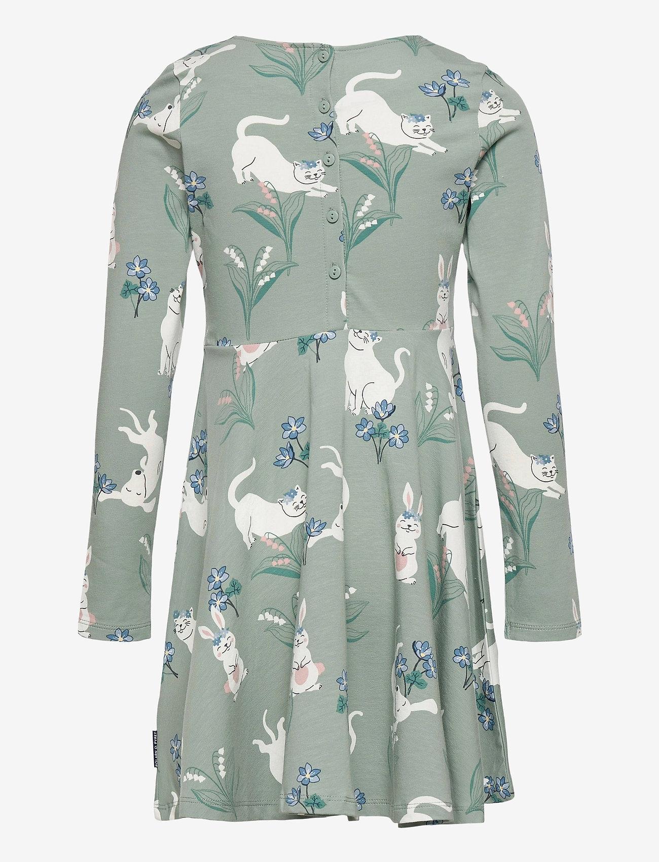 Polarn O. Pyret - Dress AOP jersey Preschoool - jurken - green milieu - 1