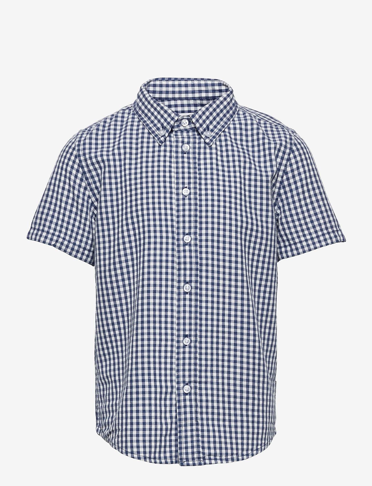 Polarn O. Pyret - Shirt checked s/s School - shirts - ensign blue - 0