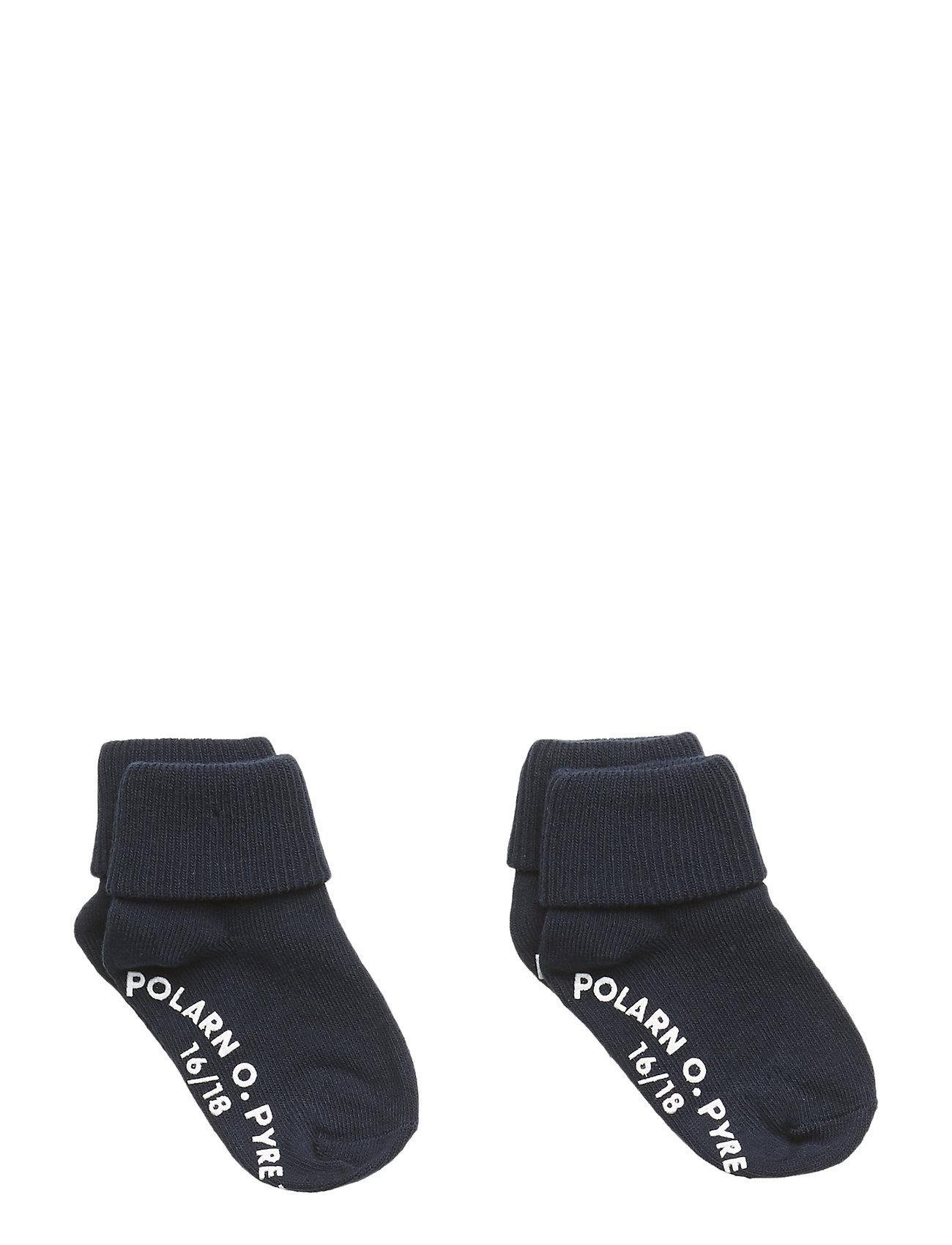 Polarn O. Pyret Socks 2-P Turn-up Anti Slip Solid - DARK SAPPHIRE