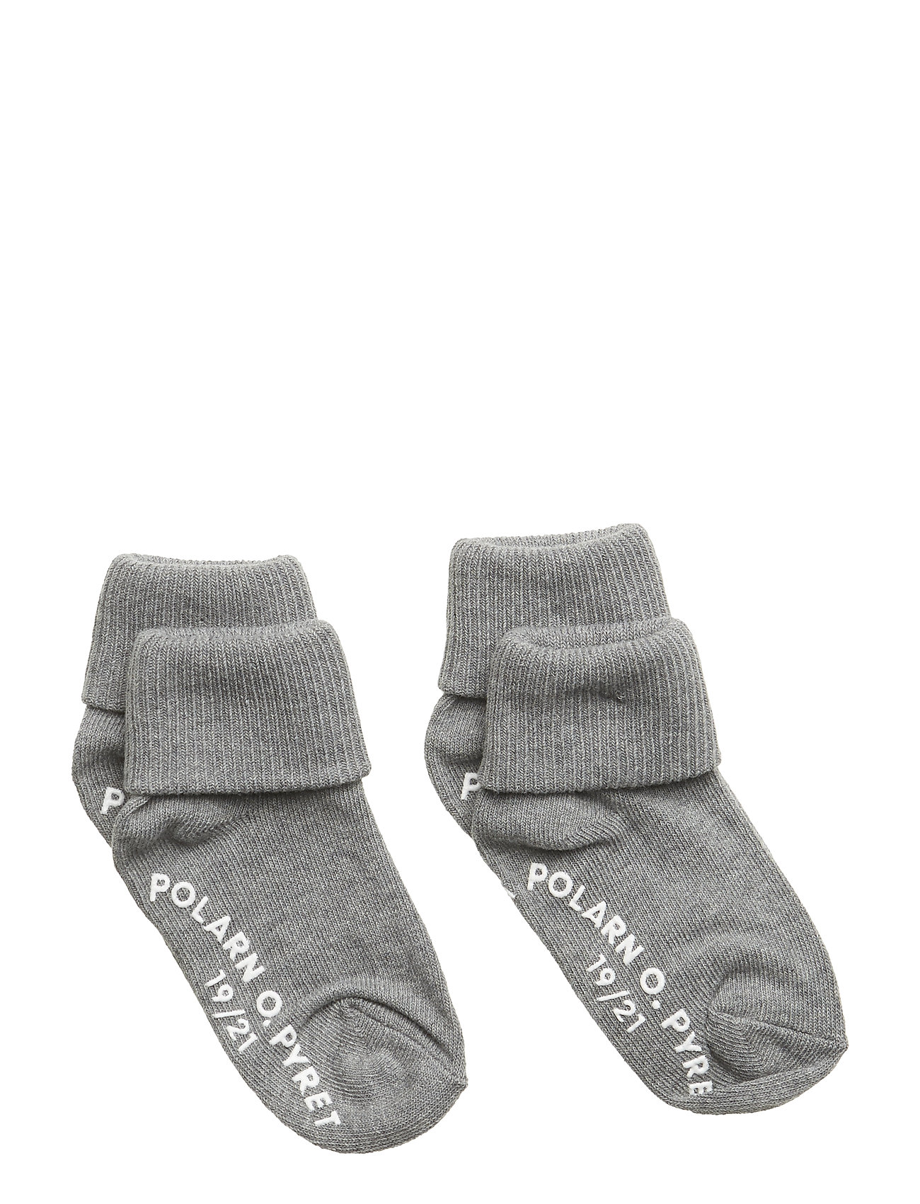 Polarn O. Pyret Socks 2-P Turn-up Anti Slip Solid - GREYMELANGE