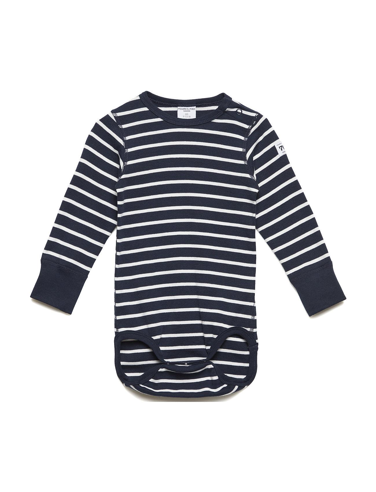 Polarn O. Pyret Body PO.P Stripe l/s Baby - DARK SAPPHIRE