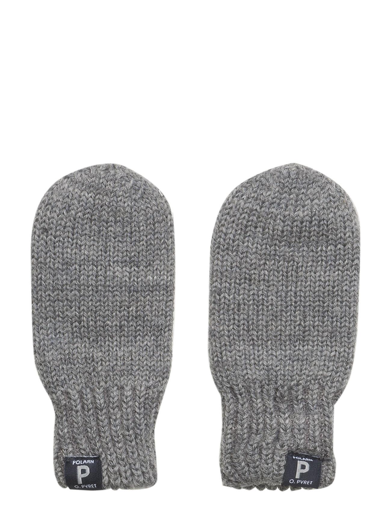 Polarn O. Pyret Mitten Wool Solid Newborn - GREYMELANGE
