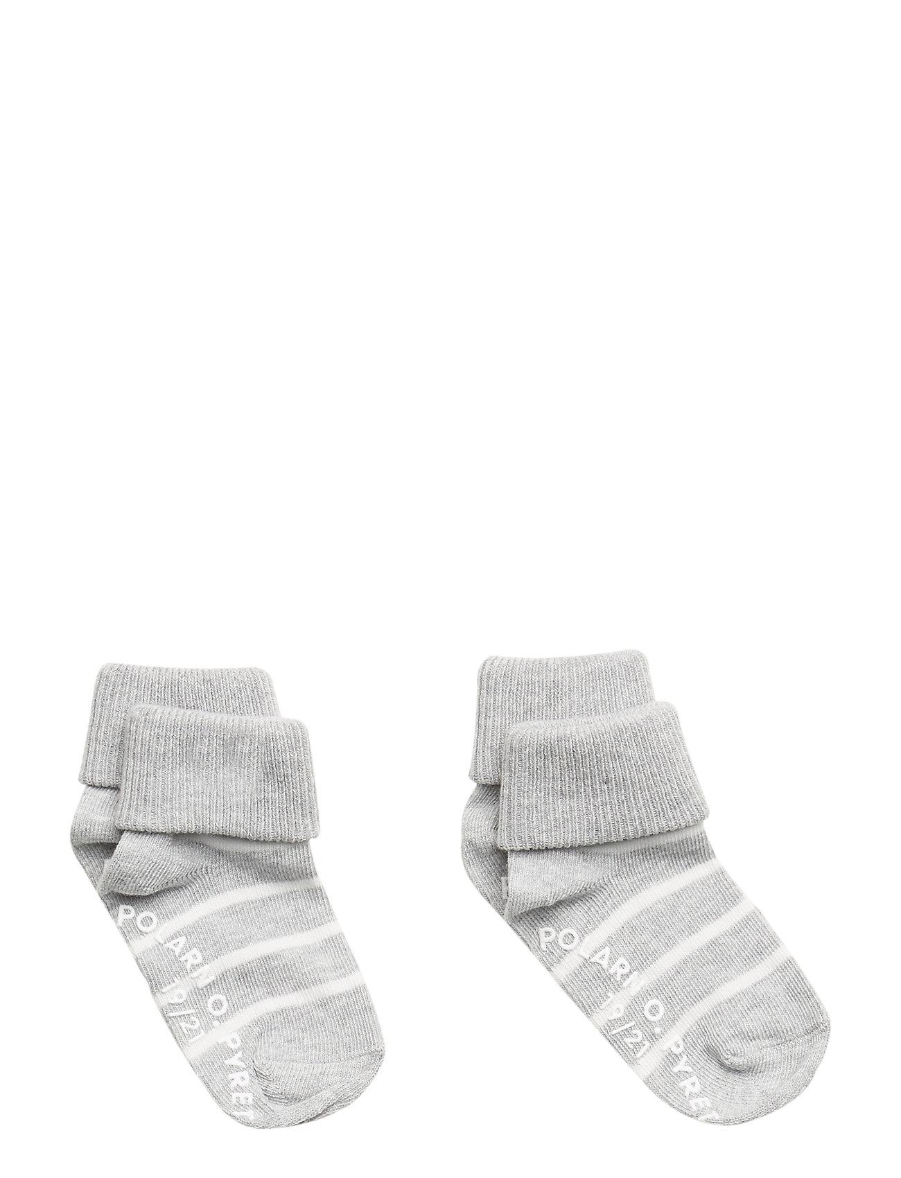 Polarn O. Pyret Socks 2-P Turn-up Anti Slip PO.P Stripe - GREYMELANGE