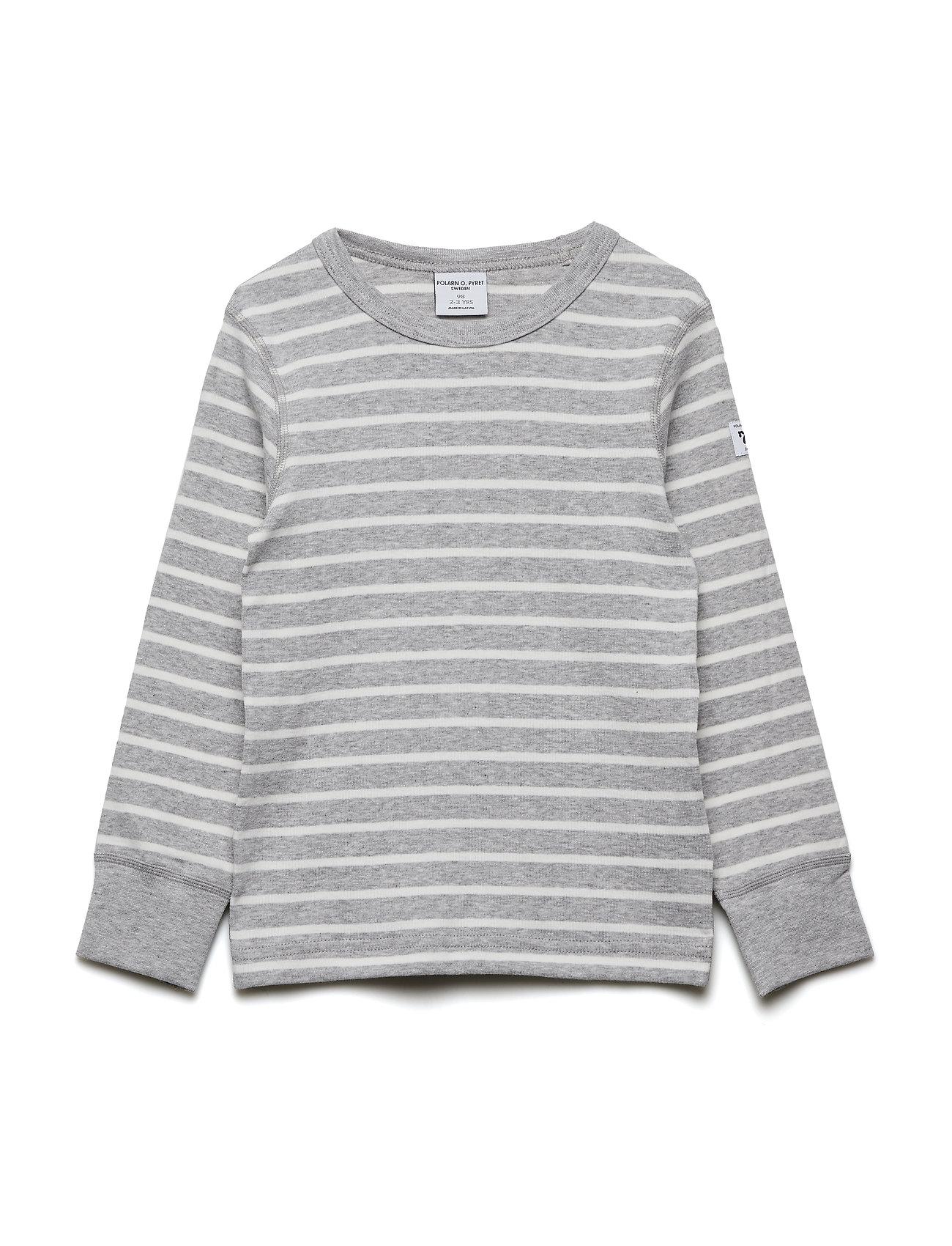 Polarn O. Pyret T-shirt l/s PO.P Stripe - GREYMELANGE