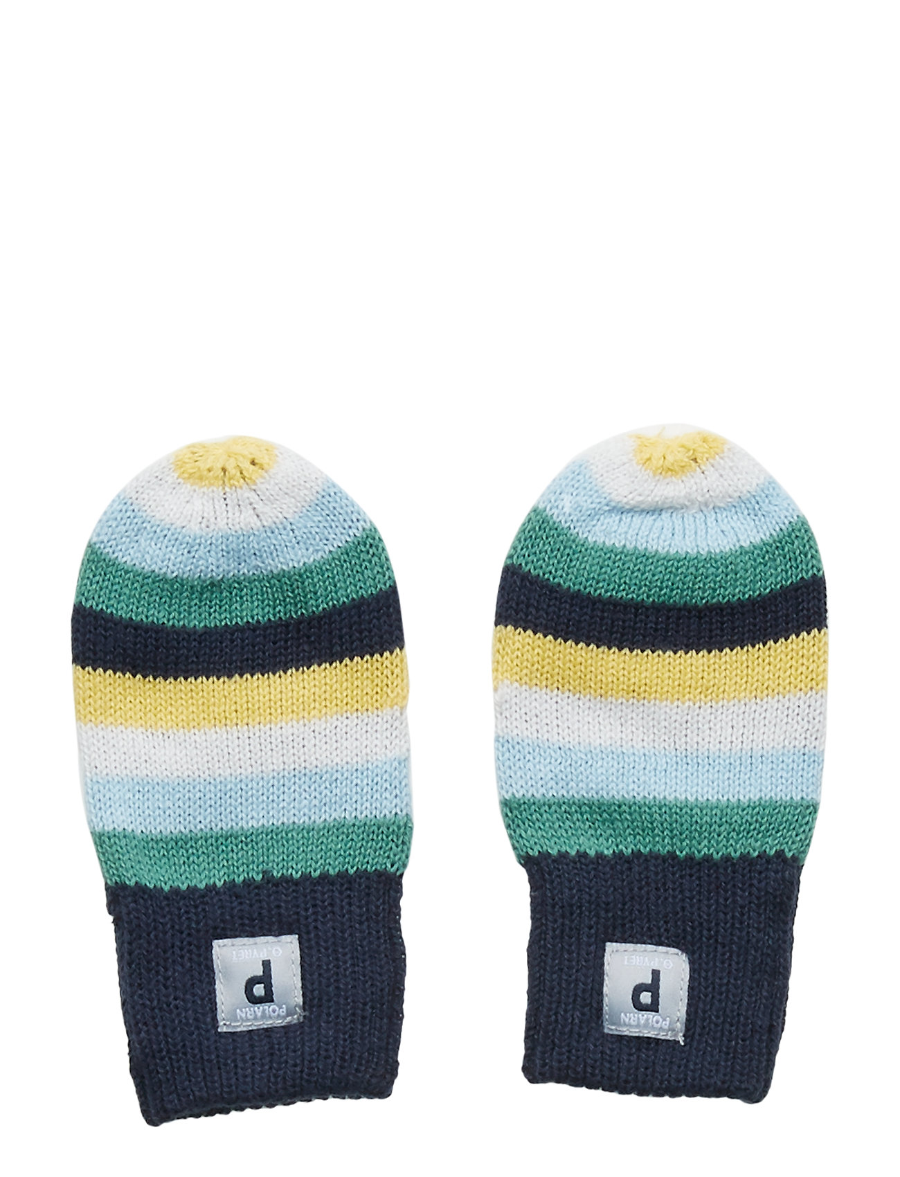 Polarn O. Pyret Striped Interlock Thumbless Baby Mittens