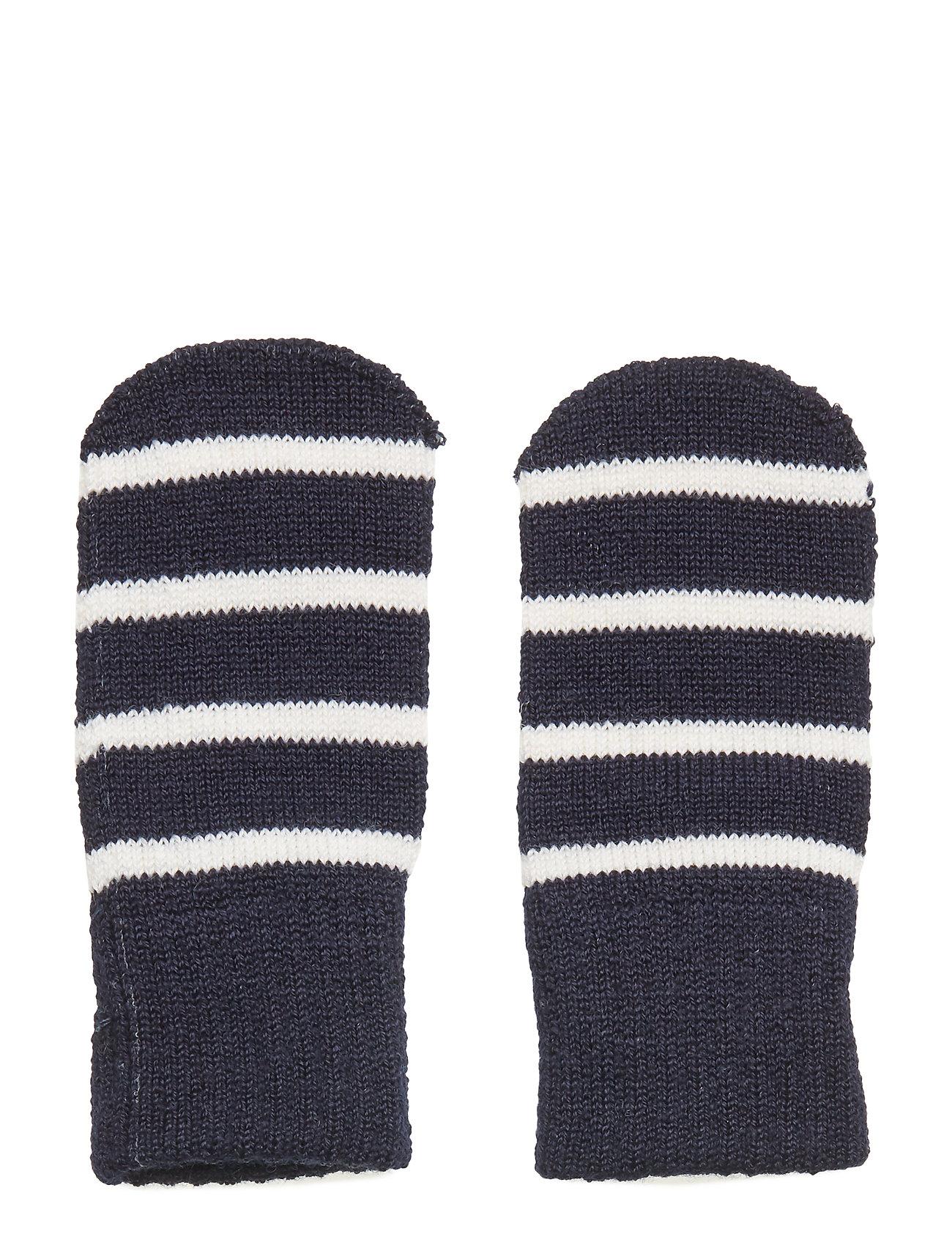 Polarn O. Pyret Striped Wool Thumbless Magic Mittens