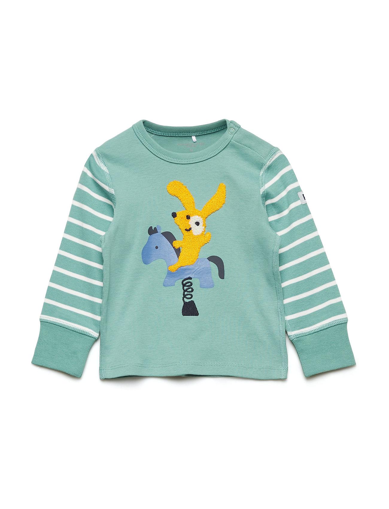 Polarn O. Pyret T-shirt Long Sleeve PO.P Stripe Baby - MALACHITE GREEN