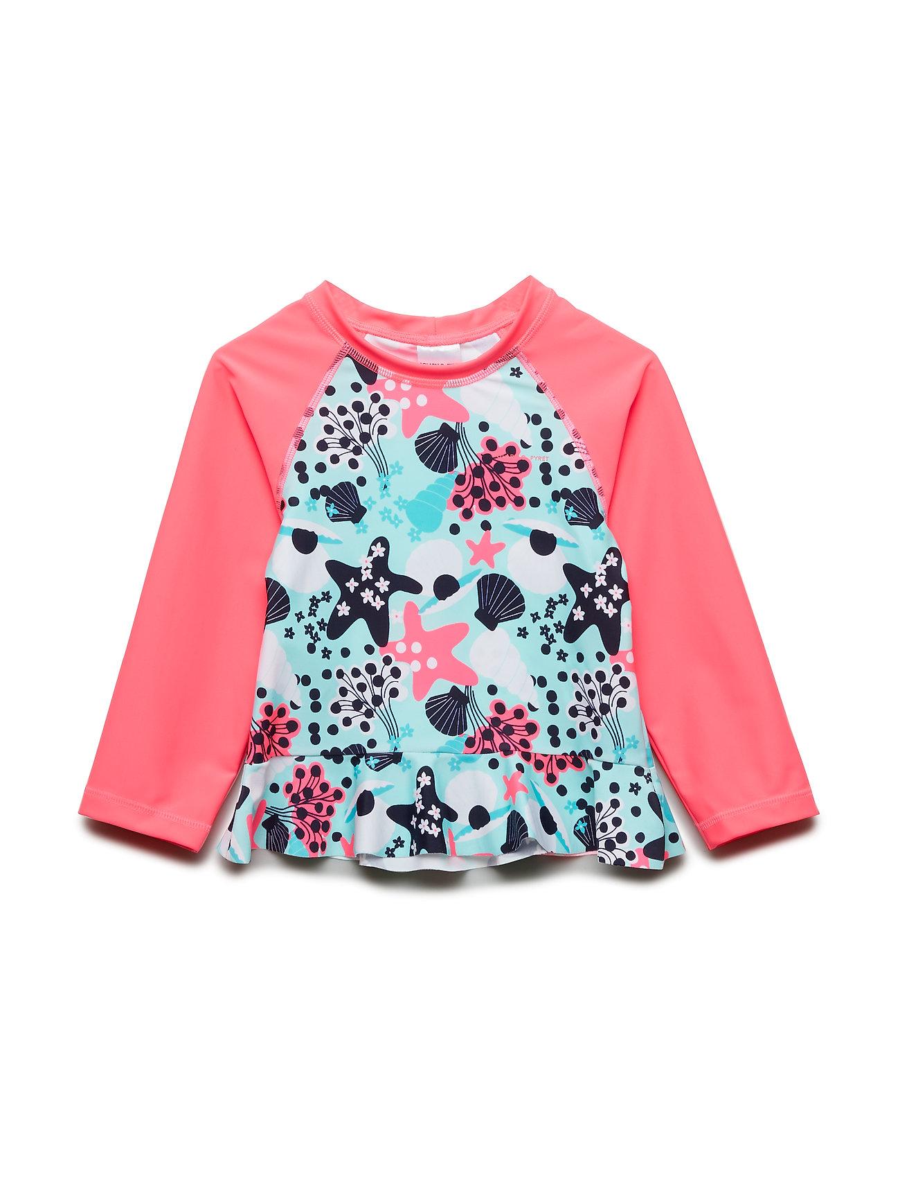 Polarn O. Pyret Swimwear Top l/s UPF AOP Preschool - FANDANGO PINK
