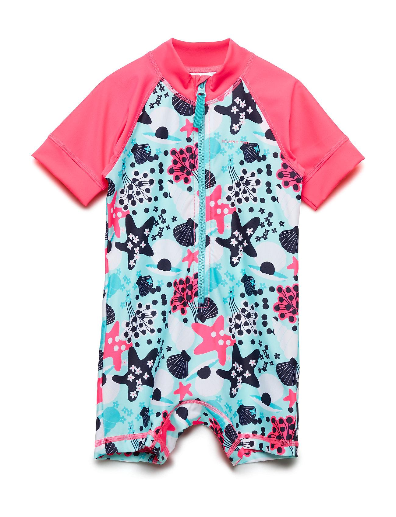 Polarn O. Pyret Swimsuit Short UPF AOP Preschool - FANDANGO PINK