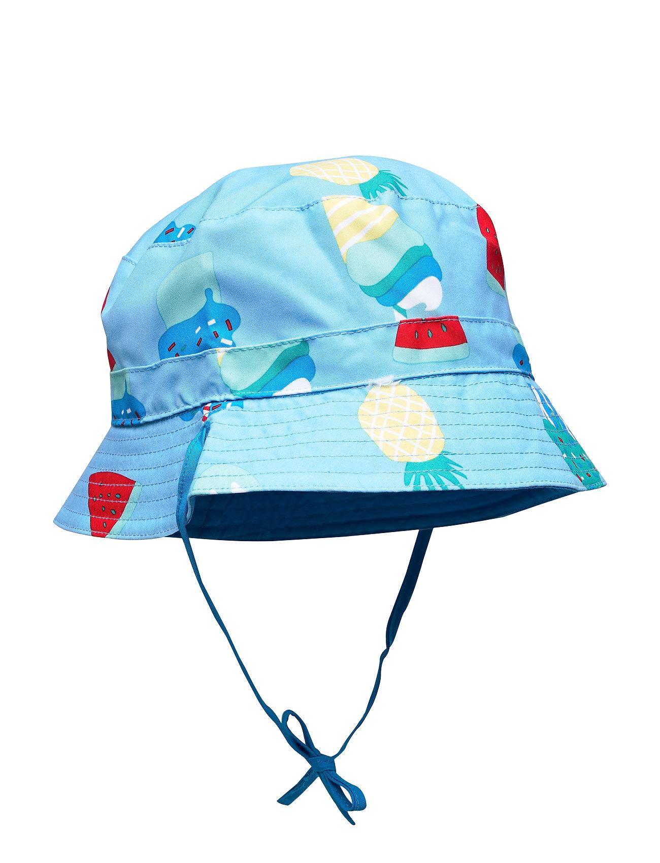 Polarn O. Pyret Sunhat Reversible Solid/AOP Preschool - ALASKAN BLUE