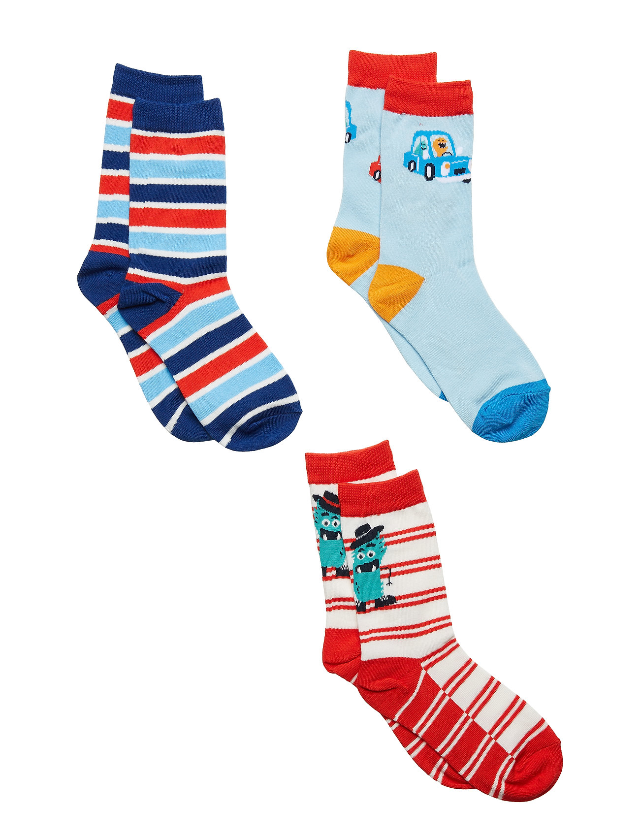 Polarn O. Pyret Socks 3-P Jaquard/Striped Preschool