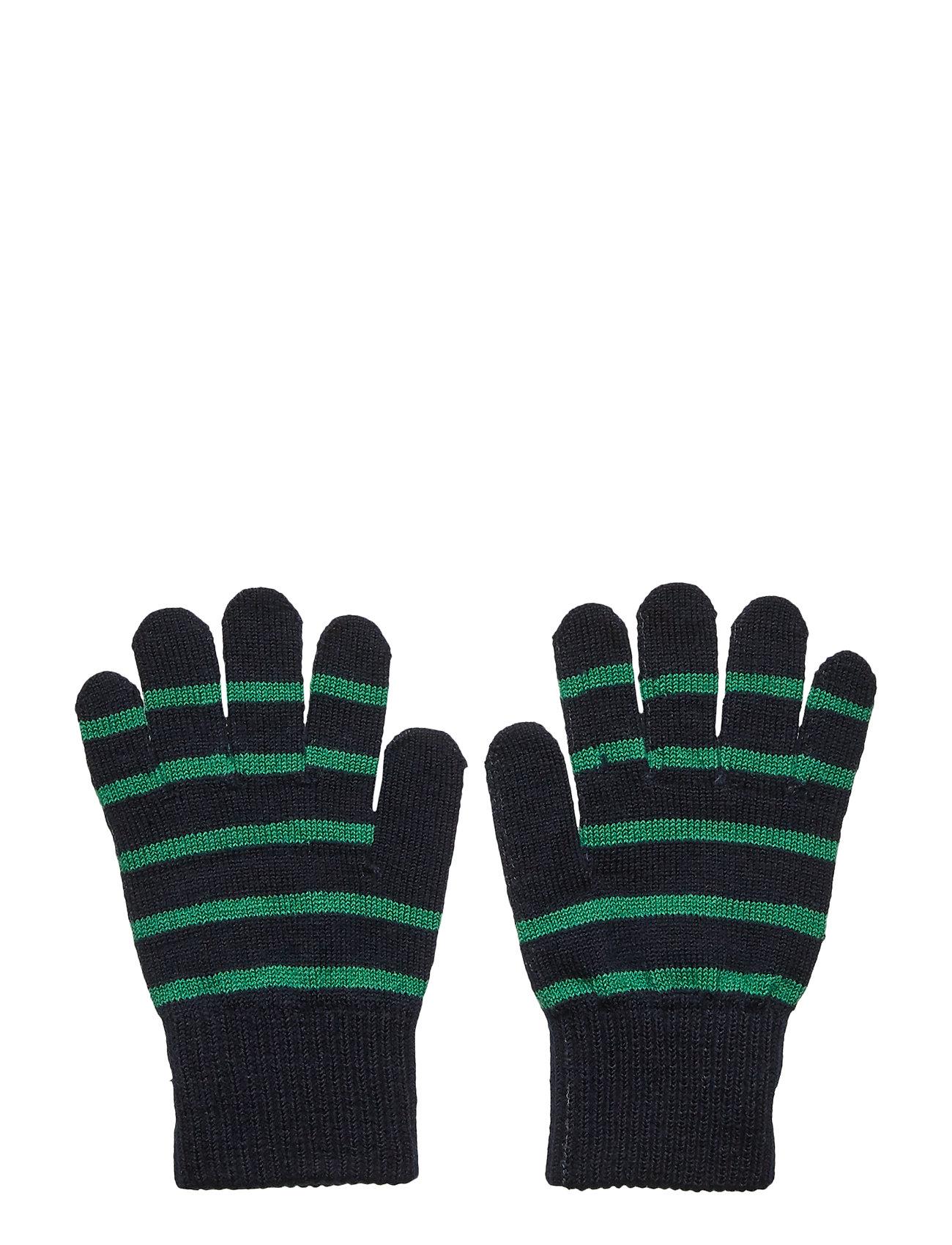 Polarn O. Pyret Glove Wool PO.P Stripe School - DARK SAPPHIRE