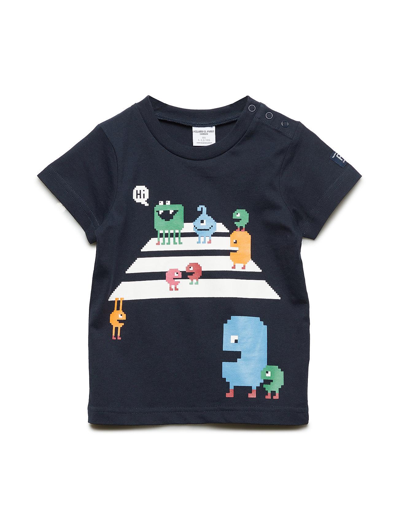 Polarn O. Pyret T-shirt Frontprint S/S Preschool - DARK SAPPHIRE