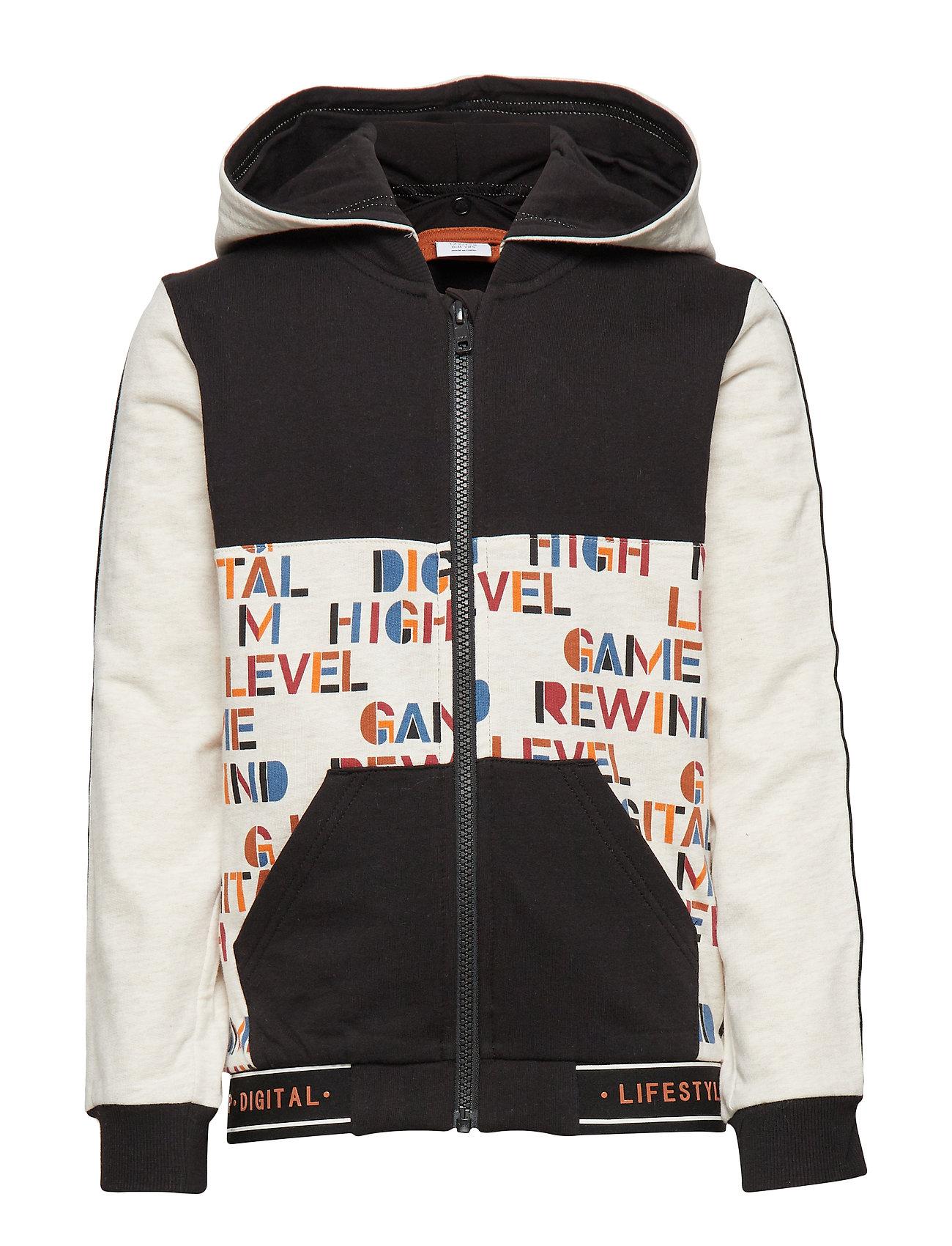 Polarn O. Pyret Zip up AOP Hood School - BLACK