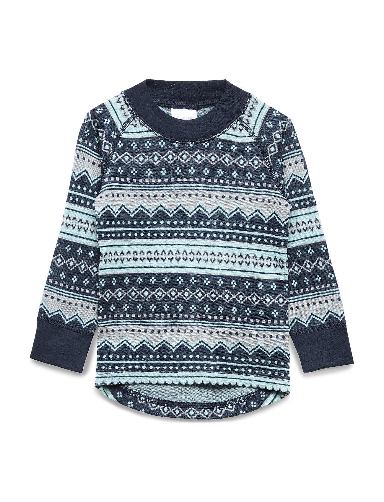 Polarn O. Pyret Top Wool Jaquard Pre school - DARK SAPPHIRE